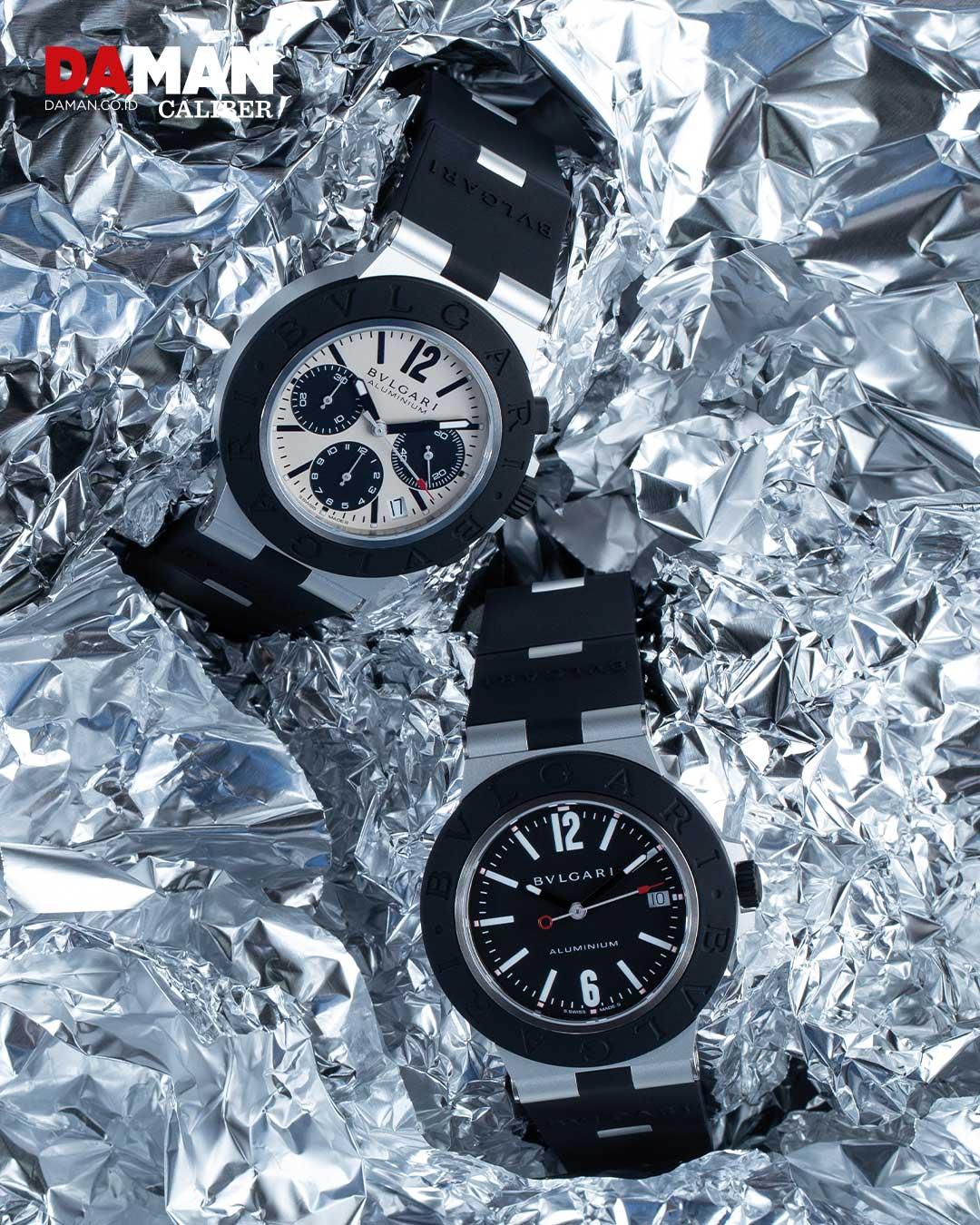 Bvlgari aluminium Chronograph in aluminum and titanium with black rubber bracelet and Bvlgari aluminium in aluminum and titanium with black rubber bracelet