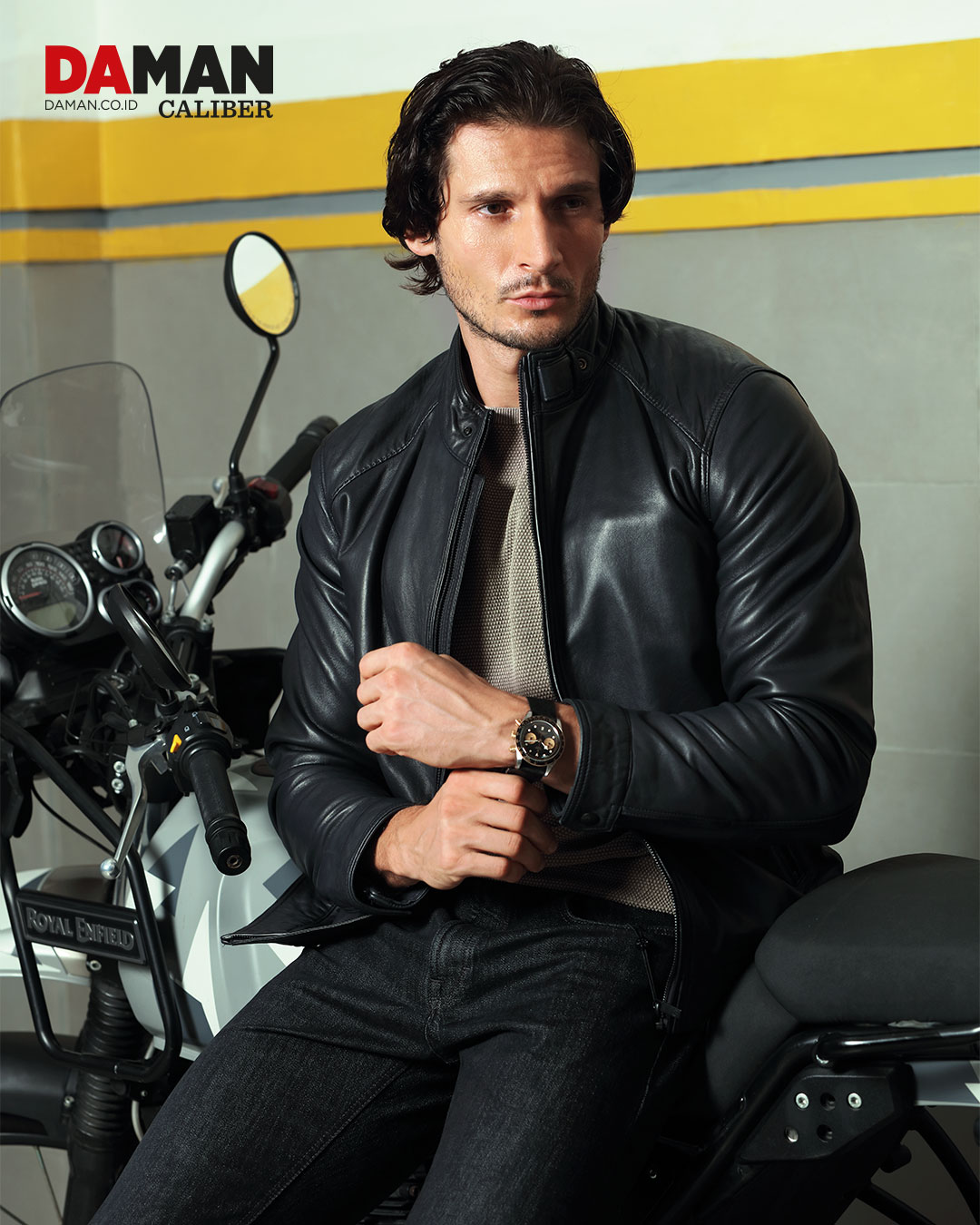 Tudor Black Bay Chrono S&G in stainless steel with black fabric strap / Outfit by Massimo Dutti / Royal Enfield Himalayan