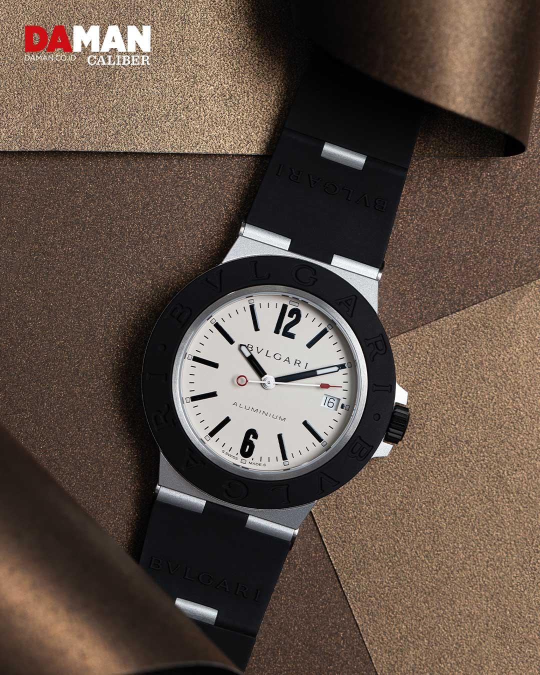 Bvlgari Auminium in aluminum and titanium with black rubber bracelet