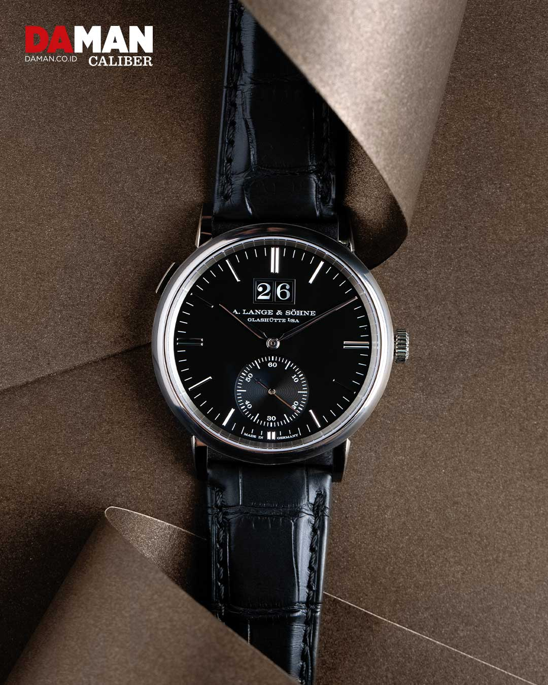 A. Lange & Söhne Saxonia Outsize Date in white gold with black alligator strap